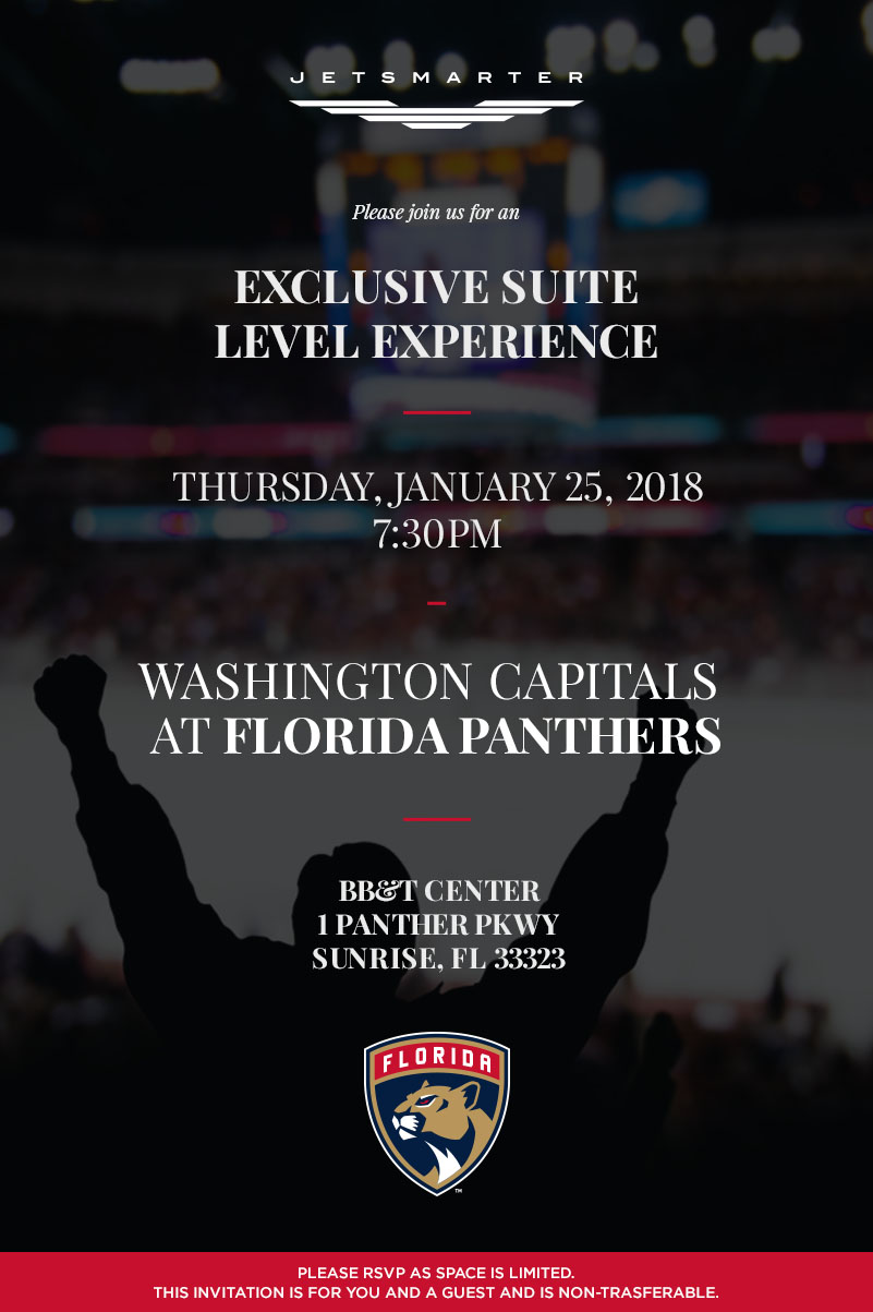 Jetsmarter exclusive suite level experience florida panthers this invite is valid for a member 1 guest upon rsvp the invite is non transferable and capacity is limited stopboris Image collections