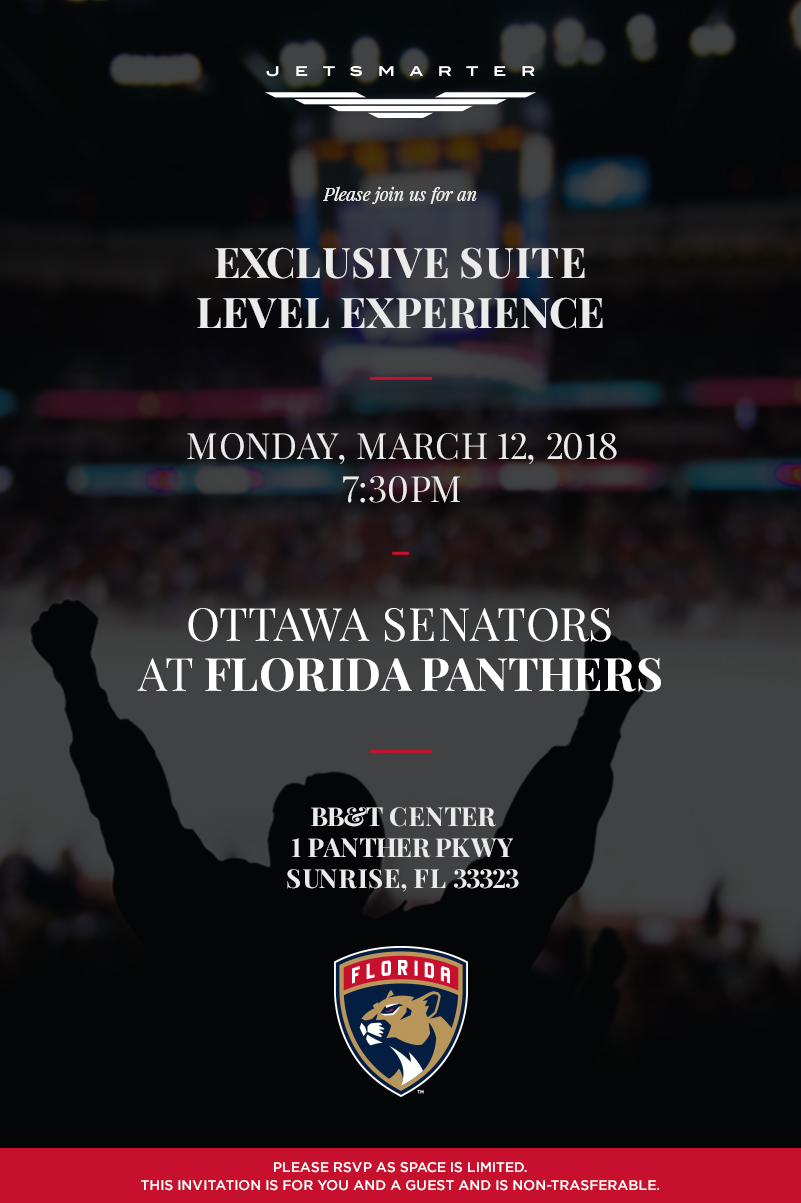 Jetsmarter exclusive suite level experience florida panthers vs this invite is valid for a member 1 guest upon rsvp the invite is non transferable and capacity is limited stopboris Choice Image