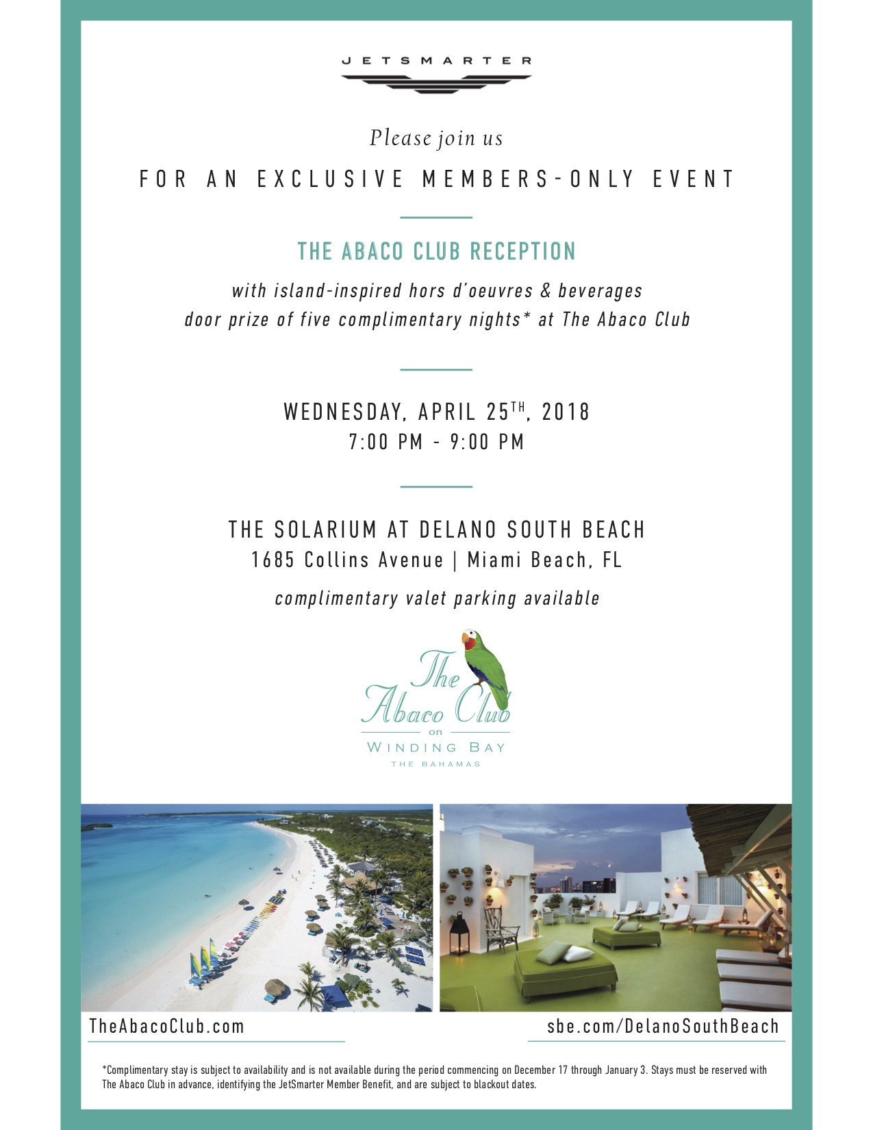 Jetsmarter the abaco club reception in miami beach this invite is valid for a member 1 guest upon rsvp the invite is non transferable and capacity is limited stopboris Image collections